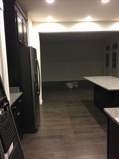 "Fixed doors, Misty Grey 5"" hardwood, Espresso Cabinets, New Caledonia Granite"