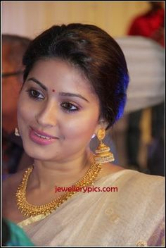 South Actress Sneha in Gold step Jhumka antique jewelry - Latest Jewellery Designs