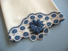 Vintage Pillowcase Blue Flower Hand Crochet Border. $14.00, via Etsy.