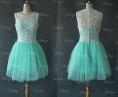 I want it in black and white! lace bridesmaid dress short bridesmaid dress mint by fitdesign, $126.00