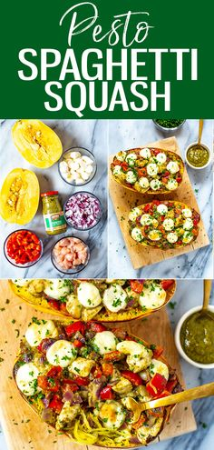 This cheesy loaded Chicken Pesto Spaghetti Squash is a healthy low-carb and high protein dinner the whole family will love! Lose of Fat Every 72 Hours! Learn the Fast Weight Loss Good Healthy Recipes, Whole Food Recipes, Vegetarian Recipes, Baby Recipes, Delicious Recipes, Tasty, Appetizer Recipes, Dinner Recipes, Lunch Recipes