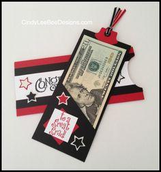 Graduation money holder.  http://cindyleebeedesigns.com/2014/06/01/an-oldie-but-goodie-from-2001-su-congratulations/