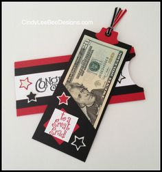 Graduation money holder.  http://cindyleebeedesigns.com/2014/06/01/an-oldie-but-goodie-from-2001-su-congratulations/