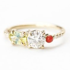 Custom | Mociun Old Miner diamond, Yellow bicolor sapphire, Antique coral stone cluster ring