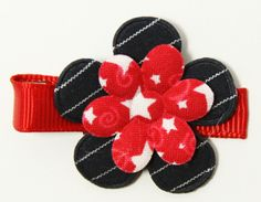 Red, White and Navy Flower Clippie
