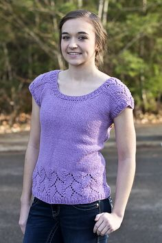 Free knitting pattern for Beachcomber Tee top with lace details - Jane Gaddy designed this seamless sweater knit from the top down with lace along shoulders and around the bottom. S (M, L, XL)