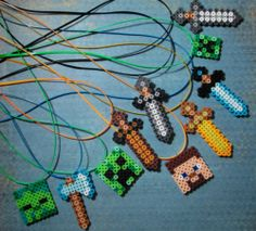 10 Minecraft Inspired Sword Character Necklaces Party Favor Boys Birthday Gift | eBay   party craft