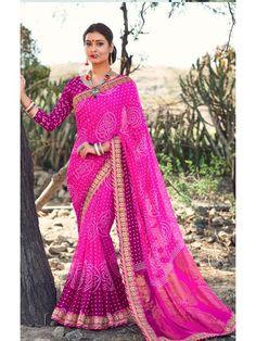Impressive Pink and Magenta Shaded Indian saree