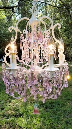 Antique Pink Crystal Chandelier, Romantic Cottage Chandelier, Shabby Chic Chandelier, Bird Cage Chandelier, Home Decor by sheriscrystals on Etsy