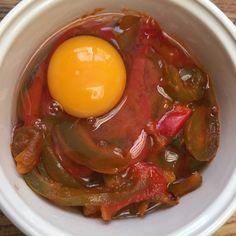 tchoutchouka individuel avant cuisson (oeuf, poivron, tomate) #cuisine #food #homemade #faitmaison #recette