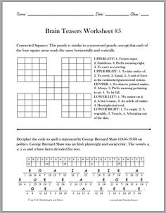 Brain Teasers Worksheet #5 - Free to print (PDF). Grades 4 and up.