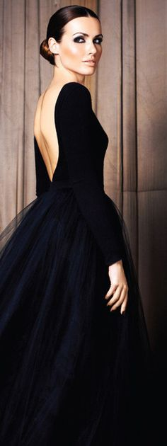 black tulle backless evening gown and perfect make-up and hair - classic and timeless style!