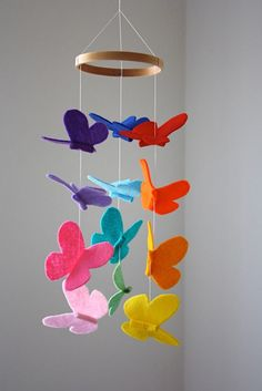 Butterfly Baby Crib Mobile - Bright Rainbow by littlenestbox - Trend Baby Rainbow 2020 Baby Crib Mobile, Baby Cribs, Baby Mobiles Diy, Crib Mobiles, Felt Crafts, Diy And Crafts, Crafts For Kids, Baby Room Decor, Nursery Decor