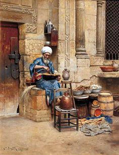 A roadside eatery, 1880s. Art Ludwig Deutsch. Most likely this is Egypt as that's the only Muslim country this artist traveled extensively in the 1880s.