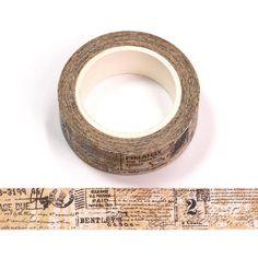Washi Tape 15mm - Nr.56 Vintage Newspaper, Vintage Ephemera, Newspaper Collage, Washi Tape Set, Masking Tape, Decorative Tape, Planner Decorating, Scrapbook Supplies, Scrapbooking