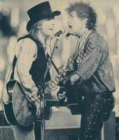 Tom Petty & Bob Dylan  I never got to see Petty perform except once on a UF lawn before he made it. Saw Dylan in the Rolling Thunder Review in 1977 when it came to Gainesville, Florida