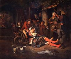 Jan Steen (Dutch, c. 1626-1679). Wine is a Mocker. 1670. Norton Simon Museum, Pasadena, CA, USA