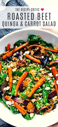 Quinoa & Carrot Salad roasted beet, quinoa, and carrot salad is packed with healthy and good-for-you ingredients! It's super flavorful and has the best lemon dressing! Roasted Beets Recipe, Roasted Beets And Carrots, Roasted Carrot Salad, Beet Salad, Quinoa Recipe, Carrot Recipes, Healthy Recipes, Salad Recipes, Drink Recipes