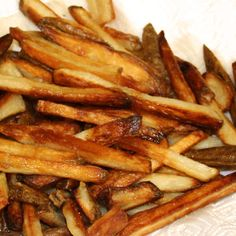 Crispy Oven Baked French Fries - not my picture, but I just made these - DELICOUS. 2 potatos was enough for lunch for me. Next time, if I only do a small amount, I'll cut down the oil, though.