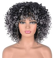 Purchase Annivia Curly Afro Wig with Bangs Short Kinky Curly Wigs for Black Women Synthetic Heat Resist Soft Hair Short Curly Afro Black Brown Wig……… Big Curls Short Hair, Short Curly Afro, Short Human Hair Wigs, Kinky Curly Wigs, How To Curl Short Hair, Afro Wigs, Grey Curly Hair, Black Curly Wig, Curly Hair Styles