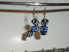 Black and Blue Dice Earrings. $10.00, via Etsy.