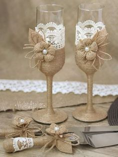 Rustic Wedding Set Burlap Lace Toasting Flutes & by VioletAtelier