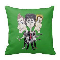 Punk Rock Band Funny Caricature Drawing Cushion Pillow #GreenDay