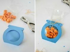 Do it yourself Goldfish party invitations (delivered by hand) or party treats requires construction paper, a cellophane bag and your time.