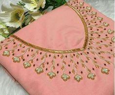 Buy Designer Kurtis Online, Buy Pakistani, Anarkali, & W Kurtis Online Embroidery On Kurtis, Pearl Embroidery, Kurti Embroidery Design, Hand Embroidery Dress, Embroidery Neck Designs, Bead Embroidery Patterns, Kurtha Designs, Dress Neck Designs, Blouse Designs