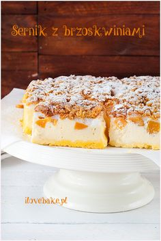 Cheesecake bars with peach - recipe in Polish First Communion Cakes, Vegan Junk Food, Vegan Sushi, Vegan Smoothies, Vegan Kitchen, Polish Recipes, Christmas Appetizers, Cheesecake Bars, Vegan Sweets