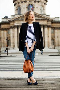 Breton tee + blazer + jeans - J.Crew