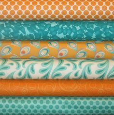 Aqua and orange....more camper fabrics & color choices.