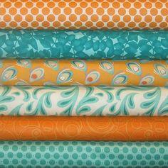 Aqua and orange....more camper fabrics & color choices.