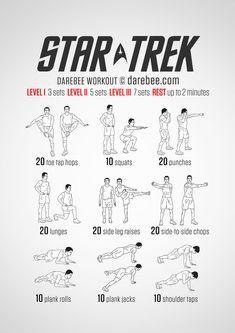 On the USS Starship Enterprise fitness was important long before there was a Holodeck for the crew to stretch their legs in. What with Kahn going a little batty and all, you had to be able to get physical at warp speed. This is a total body workout...