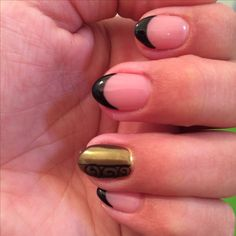 Nails french manicure gold black