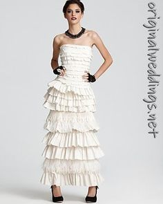 BCBGMAXAZRIA Pleated Feather Gown - Bride - Bloomingdales.com (via @Myrticehkc240 )