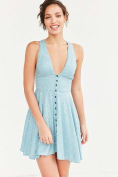 Urban Outfitters Treverse Button-Down Fit and Flare Turquoise Dress