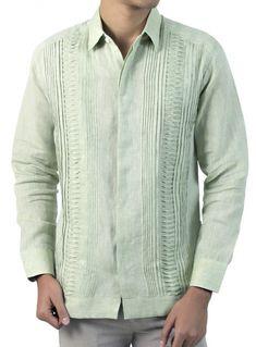 Guayabera 100% Lino Verde Jaspeado GUAYABERAS Camisa Cubana 5c00fe0f995