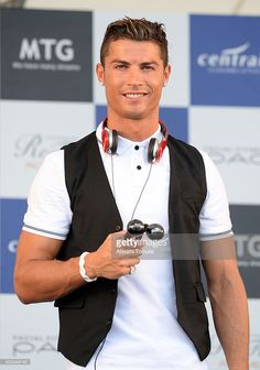 Cristiano Ronaldo of Portugal attends a press conference as part of MTG X Christiano Ronald 'Athletic Beauty Project' at Chubu Centrair International airport on July 23, 2014 in Nagoya, Japan.
