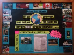The missions Board at our church. I change it to a new missionary each month. Missions Bulletin Board, Cute Bulletin Boards, Christian Bulletin Boards, Church Bulletin Boards, Craft Projects For Kids, Diy Projects To Try, Craft Ideas, Missionary Church, Church Bulletins