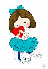 cardíacas (sanposter) Tags: azul amor menina ilustração gato crianças gatinho criança quente coração tutu kawaii