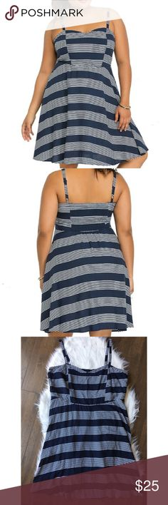 Torrid Navy And White Striped Dress Adorable navy and white sundress from Torrid. Soft and flowy. Back elastic panel. Size 2=2X from Torrid. No trades. Offers welcome. Bundle and save. torrid Dresses