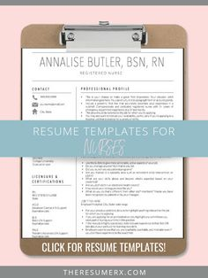 Resume Templates for Nurses! Get your dream nursing job with a beautiful, professional resume and cover letter! Rn Resume, Resume Tips, Resume Examples, Professional Cover Letter, Professional Nurse, Nursing School Tips, Nursing Jobs, Travel Nursing, Nursing Resume Template