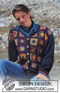 Ravelry: 39-26 Crochet jacket with knitted sleeves pattern by DROPS design