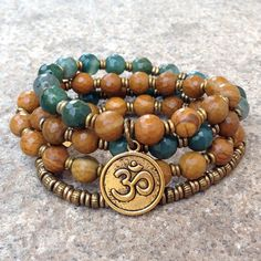 jasper and moss agate wrap necklace with om charm