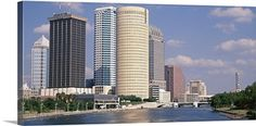 Poster Print Wall Art Print entitled Florida, Tampa, Hillsborough River, Panoramic view of waterfront and skyline Wall Art Prints, Framed Prints, Poster Prints, Canvas Prints, Florida Sunshine, Skyscraper, Skyline, River, Architecture
