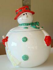 Fitz & Floyd Mrs Snowman Christmas Cookie Jar,