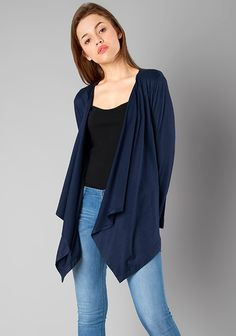 BASICS Jersey Drape Shrug - Navy #Fashion #FabAlley #Shrug #WinterWear #WinterShopping