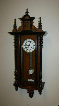 BEAUTIFUL ANTIQUE GERMAN QUARTER STRIKE WALL CLOCK CARVED CASE