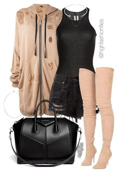 """No Stressin"" by highfashionfiles ❤ liked on Polyvore featuring Unravel, Rick Owens, Balmain, Phyllis + Rosie, Givenchy, Rolex and Maison Margiela"